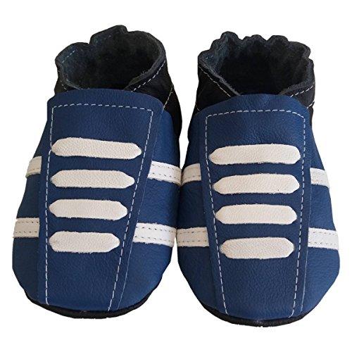 Basket' Blue de bbkdom- Zapatillas Bebé y niños en piel suave de calidad superior fabricación Europea de 0–5años azul azul Talla:Pointures 24-25 (2 à 3 ans)e azul