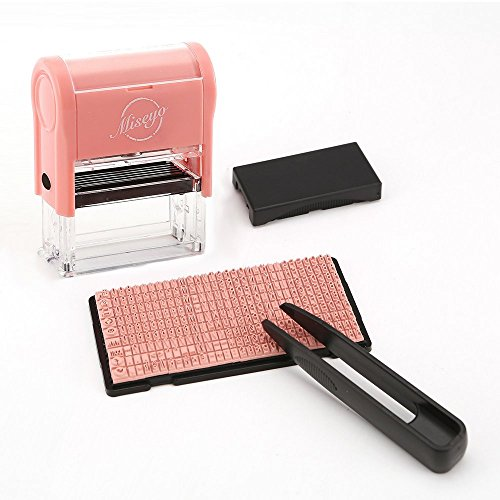 Miseyo DIY Self Inking Stamp Up to 3 Lines, Customized Text Clothing Label, Paper and Fabric Marker (Diy Address Kit)