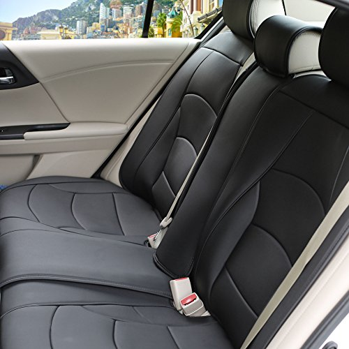 FH Group PU205013SOLIDBLACK Bench PU205SOLIDBLACK013 Ultra Comfort Leatherette Rear Seat Cushions Solid Black