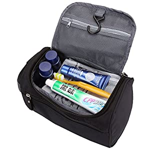 Men's Travel Toiletry Bag, CozyCabin Hanging Waterproof Travel Case Shaving & Makeup Accessories Organizer with Large Capacity - for Gym, Vacation, Business Trip (Black)