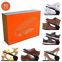 10PCS Shoe Slots - Shoe Stacker - Increase Space by 200% - Adjustable, 4 Level Shoe Space Saver - Durable Shoe Slotz Organizer - Shoe Organizer with Double Decker Storage for Closet, Shoe Holder Rack
