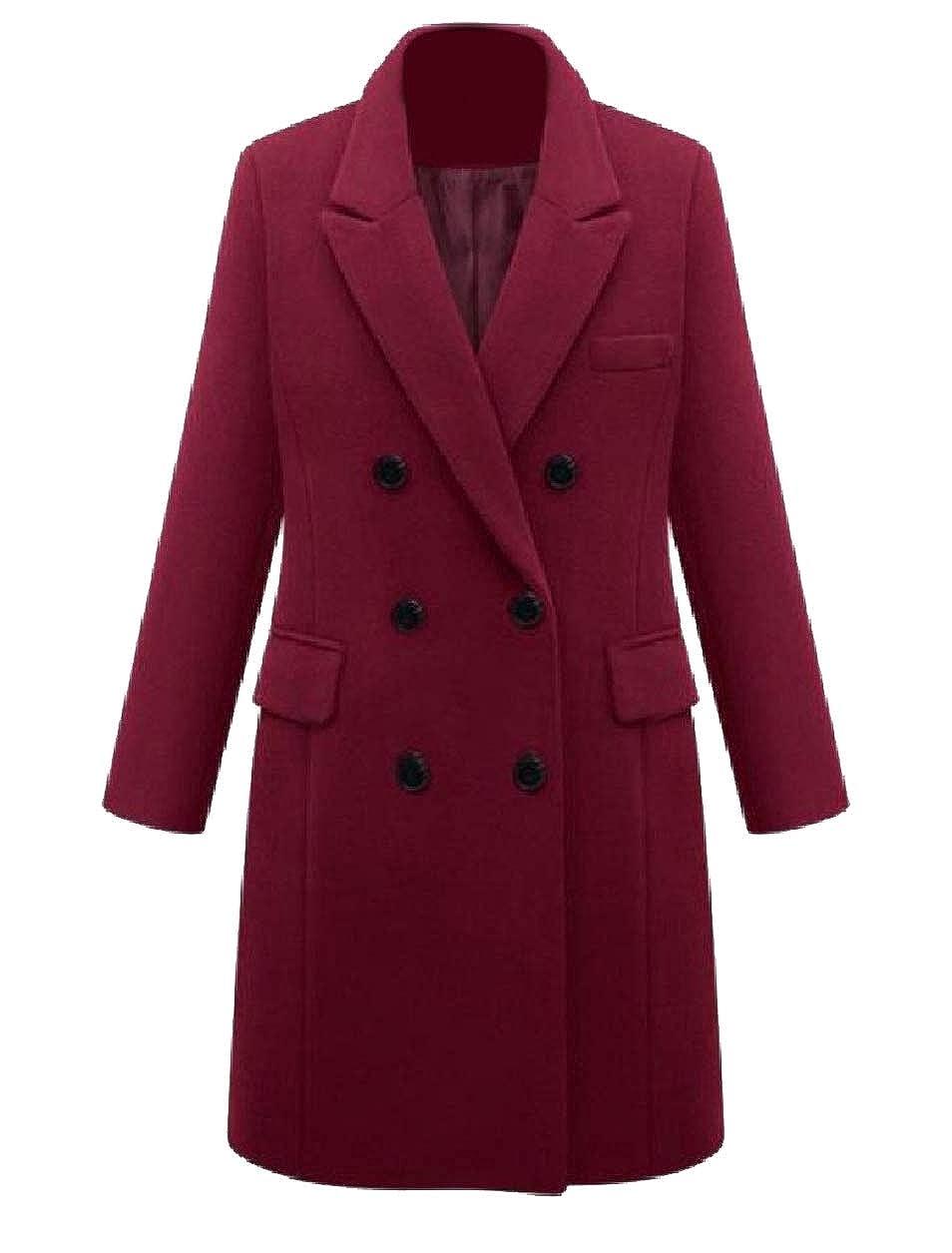 Abetteric Women's Fall Winter Double Button Plus Size Jackets Long Pea Coat