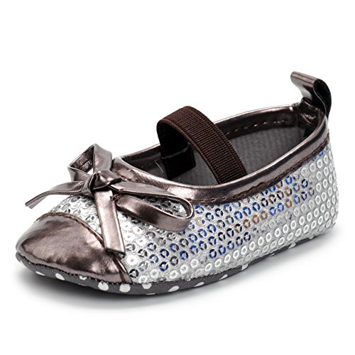 (Enteer Baby Girls' Retro Leather Button Mary Jane Shoes (7-12months, Sequins))
