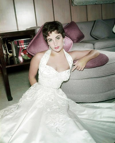 Elizabeth Taylor Stunning Low Cut White Gown Short Hair Glamour 11x14 Promotional ()