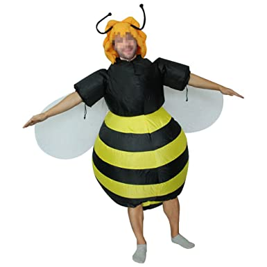 7510f6a4a1f3 Amazon.com: yunzhenbusiness Adult Inflatable Bee Fancy Dress Costume  Halloween Blow up Suit Yellow: Clothing