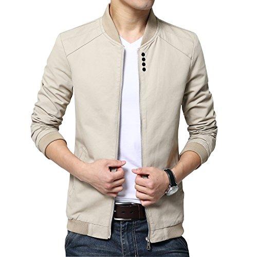 Womleys Mens Autumn Casual Bomber Jacket Coat Cotton Outerwear (Asian XXL (US Medium), Khaki) (Cotton Casual Jackets)
