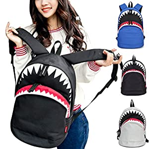 3D Shark Canvas Backpack Kids Book Bag School Backpack for Children Toddler Girls Boys (Blue)