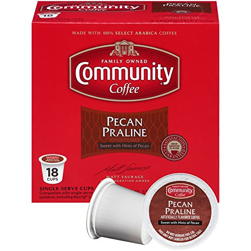 Community Coffee Pecan Praline Flavored, Medium Roast, 18 Count Single Serve Coffee Pods, Compatible with Keurig K-Cup (Southern Praline)