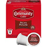 Community Coffee Pecan Praline Flavored Medium Roast Single Serve 18 Ct Box, Compatible with Keurig 2.0 K Cup Brewers, Medium Full Body Sweet Hints of Pecan, 100% Arabica Coffee Beans