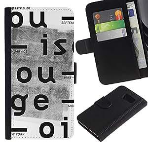 EJOY---La carpeta del tirón la caja de cuero de alta calidad de la PU Caso protector / Samsung Galaxy S6 / --Cartas Periódico retro impresión blanca