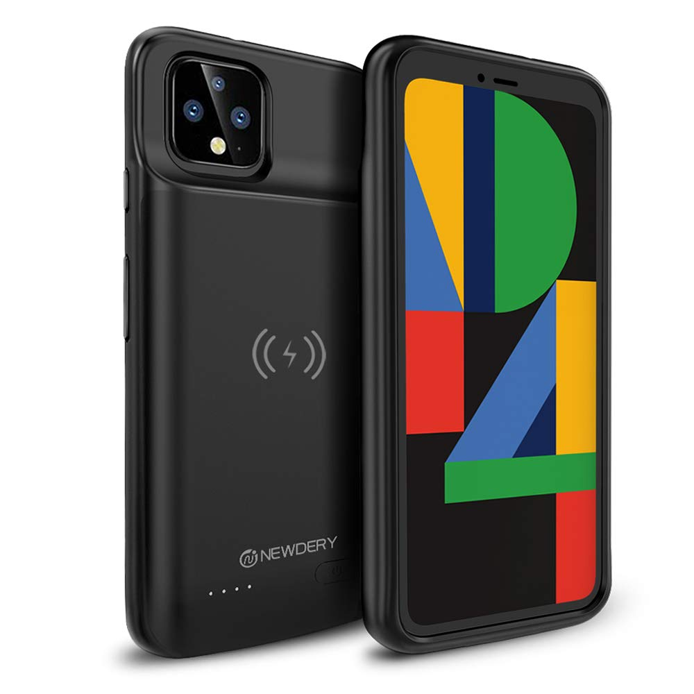 NEWDERY Google Pixel 4 Battery Case, Qi Wireless Charging Compatible, 5000mAh Slim Extended Rechargeable Charger Case Compatible Google Pixel 4