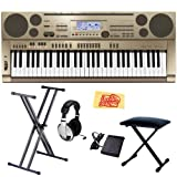 Casio AT3 61-Key Portable Keyboard Bundle with Keyboard Stand, Bench, Headphones, Sustain Pedal, and Polishing Cloth