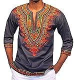 Karlywindow Men's Floral Print V Neck 3/4 Sleeve Cozy Tribal Dashiki Africa Shirts