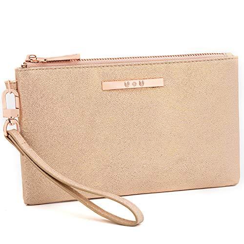 (Golden Womens Large Wristlet - U+U Slim Ladies Glitter Clutch Organizer Soft Lightweight PU Leather with 6 Card Slot)