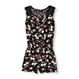 The Children's Place Big Girls' Floral Woven Romper, Black, XL (14)