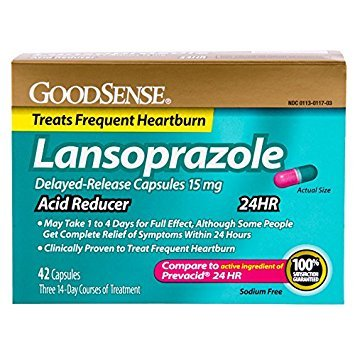 GoodSense Acid Reducer, Lansoprazole Delayed Release Capsules, 15 mg, 42 Count - Pack of 5