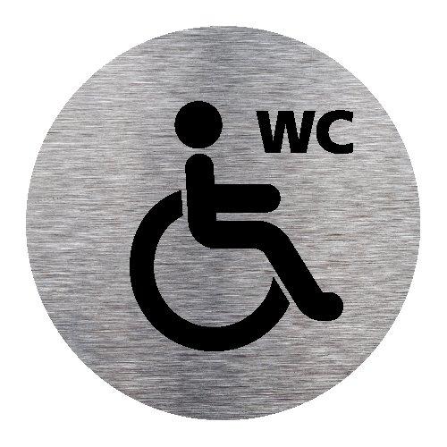Plaque de porte WC Handicapé Toilettes - Adhésif Autocollant Sticker aspect Aluminium Brossé - Pictogramme WC Handicapé Toilettes Porte Disque Rond Diamètre 83 mm - WC Handicapé Signalétique.biz France Q0183