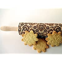 Rolling pin FOLK. Wooden embossing rolling pin with Oriental flowers. Embossed cookies. Pottery. Birthday gift. Gift for mother