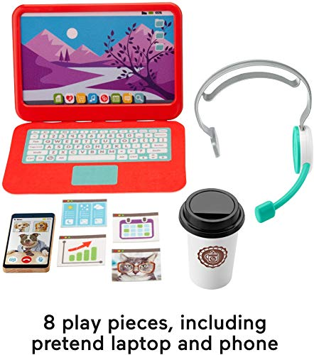 Fisher-Price My Home Office, pretend work station 8-piece play set for preschool kids ages 3 years and up