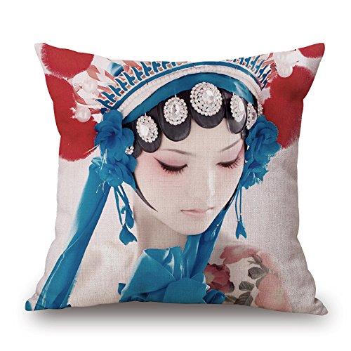Lino y algodón cuadrado Cotton Linen Burlap manta decorativa Funda de almohada Funda para cojín (nº 1 Opera de Beijing ópera de Pekín actriz Facial ...