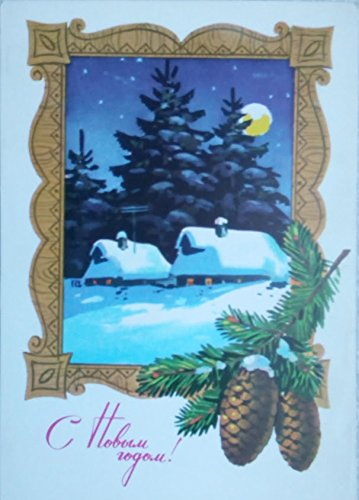 1977 House Trees Vintage USSR Soviet Union Russian Greeting Christmas Happy New Year Postcard