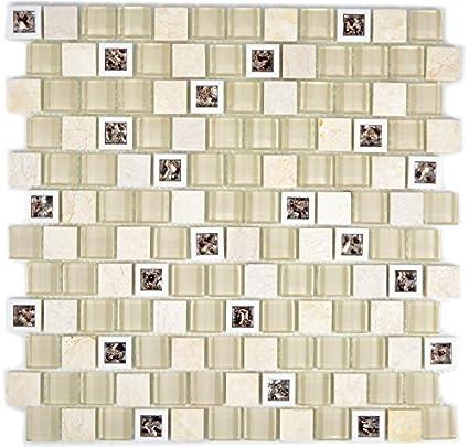 Piastrelle a mosaico in plastica traslucida beige con mosaico di ...