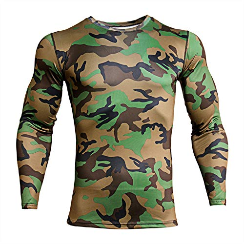 ZHPUAT Men's Sports Running Camo Quick-Drying Compression Long Sleeve T-Shirt-Camo Green-L