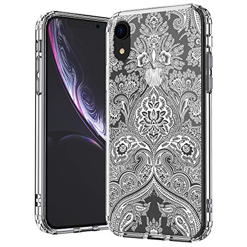 (MOSNOVO iPhone XR Case, Clear iPhone XR Case, White Damask Henna Mandala Lace Pattern Clear Design Transparent Plastic Hard Back Case with TPU Bumper Protective Case Cover for Apple iPhone XR)
