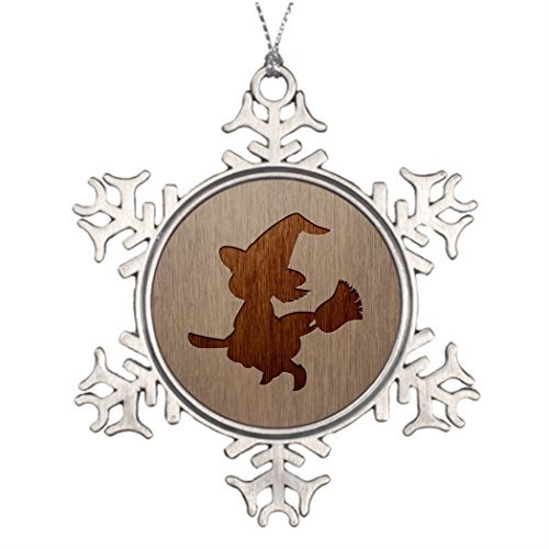 (Ideas For Decorating Christmas Trees Little witch silhouette engraved on wood effect Sale Christmas Decorations Christmas Snowflake Ornaments)