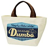 Japan Walt Disney Official Dumbo - Cute & Cuddly Blue Natural Cotton Canvas White Color Shopping Large Tote with Brown Handle & Pockets Handbag Grocery Bag Reusable Prints Big Lunch Box Grab Grabbag
