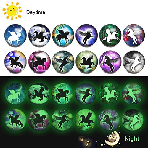 Halloween Snap Jewelry Charms Luminous Glass Snap Button Pumpkin Spider Bat Boo Skeleton Ghost Ginger Snap Charms (C-Unicorn)