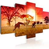 Konda Art Framed African Canvas Painting Animal Giraffe and Elephant Wall Decor Art Modern 5 Piece Landscape Sunset Picture Artwork for Living Room Ready to Hang (Sunny Colours of Africa, 40''x 20'')