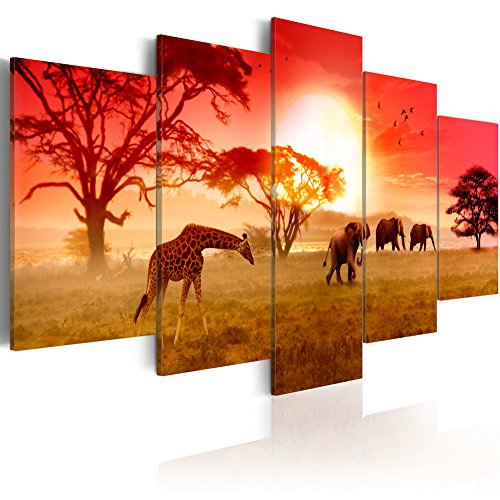 Konda Art Framed African Canvas Painting Animal Giraffe and Elephant Wall Decor Art Modern 5 Piece Landscape Sunset Picture Artwork for Living Room Ready to Hang (Sunny Colours of Africa, 40