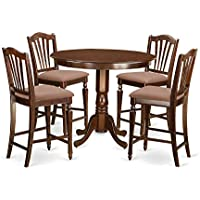 East West Furniture TRCH5-MAH-C 5 Piece Counter Height Table and 4 Bar Stools Set