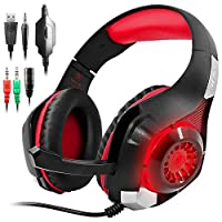 AFUNTA GM-1 Gaming Headset Compatible Nuevo Xbox One PS4 PC Tableta Celular, Auricular estéreo con retroiluminación LED y micrófono rojo