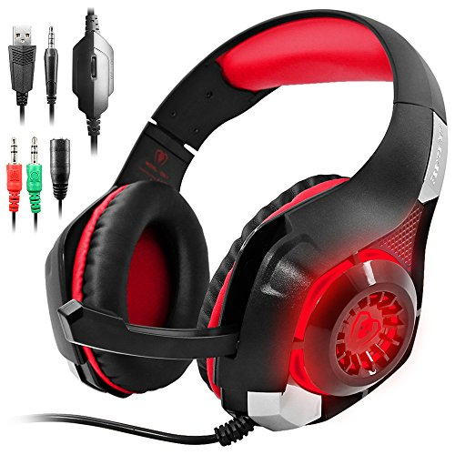 GM-1 Gaming Headset Compatible New Xbox One PS4 PC Tablet Cellphone, Stereo LED Backlit Headphone with Mic by AFUNTA-Red