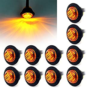 Purishion 10x 3/4 Round LED Clearence Light Front Rear Side Marker Indicators Light for Truck Car Bus Trailer Van Caravan Boat, Taillight Brake Stop Lamp 12V (Amber)