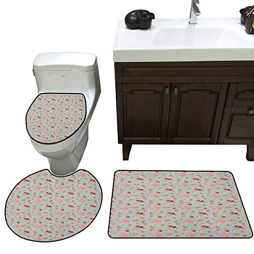 Moeeze-Home Tea Party Lid Toilet Cover Bath Mat Cupcakes Cookies and Flowers on Polka Dotted Background Great Britain Tradition Bathroom Floor Mat Sets Multicolor]()