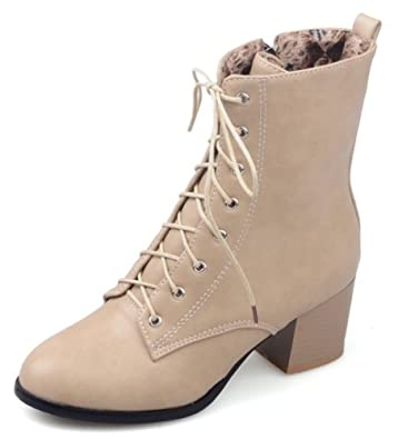Women's Comfy Mid Chunky Heels Ankle Boots Lace Up Short Martin Biker Booties