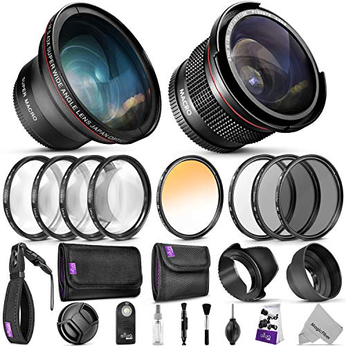 58mm Altura Photo Professional Accessory Kit for Canon EOS Rebel DSLR – Bundle with Wide Angle & Fisheye Lens, Filters Kit (Macro Close-Up Set, UV, CPL, ND4, Color) Remote Control & More
