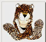 Jaguar Plush Cosplay Hat with Mittens 3-in-1 (Hat, Scarf, and Mittens)