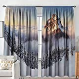 NUOMANAN Blackout Curtains Mountain,Roszutec Slovakia Mountain Fatra with Smoky Foggy Peak at Winter Panoramic Picture,Multicolor,Rod Pocket Drapes Thermal Insulated Panels Home décor 120'x96'
