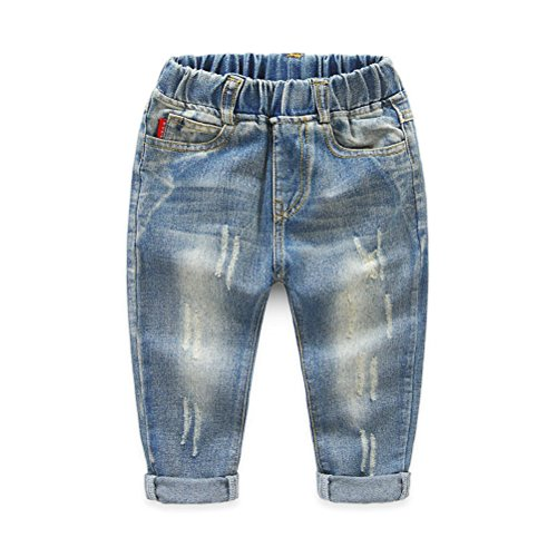 UWESPRING Boys Street Style Cool Bleach Joker Straight Jeans Trousers 3T Blue (Joker Jeans)