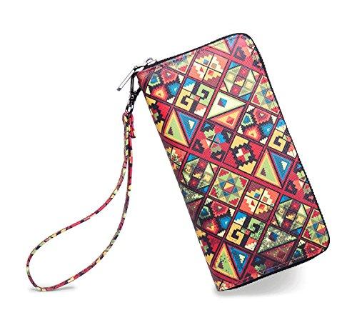 LIKEWE Women Multicolor Square Wallet Zip Around Clutch Wallet Large Travel Purse (PU-ZFG)