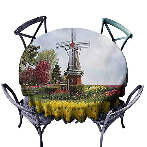 Washable Tablecloth Windmill Serene Vast Traditional Garden with Blossoming Flowers Trees and Dutch Tulips Multicolor Soft and Smooth Surface D43