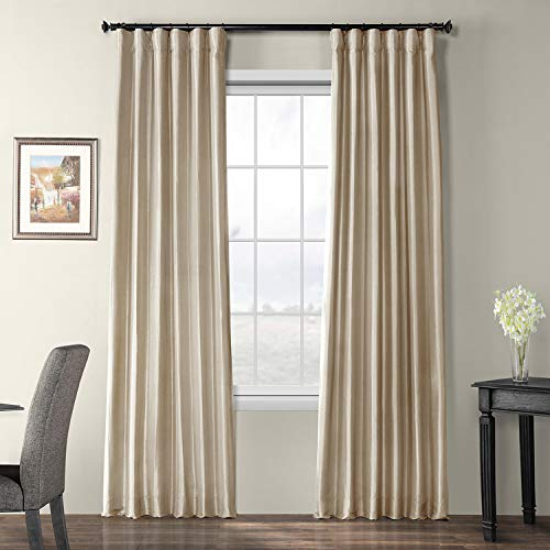 Half Price Drapes PTCH-BO130907-96 Blackout Faux Silk Taffeta Curtain, Antique Beige (Silk Drapes Raw)