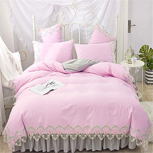 - Luxury Lace Bedding Sets Queen King Size Duvet Cover Set Bed Skirt Set Pillowcase Bedclothes E  Bed Sheet 180X200Cm
