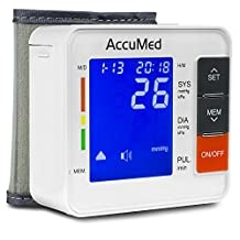 AccuMed ABP801 Portable Wrist Blood Pressure Monitor with One-Touch Intelligent Automatic Measurement (White) - 4-in-1 Functionality for Systolic / Diastolic BP, Heart Rate (BPM), Hypertension Guide (WHO Class Indicator), & Arrhythmia Alerts