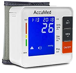 AccuMed ABP801 Portable Wrist Blood Pressure Monitor with One-Touch Intelligent Automatic Measurement (White) - 4-in-1 Functionality for Systolic / Diastolic BP, Heart Rate (BPM), Hypertension Guide (WHO Classification Indicator), & Arrhythmia Alerts - Includes Voiced Audio / Silent Mode, High-Contrast LCD Display, Built-in Storage Memory, Clamshell Carrying Case, USA Warranty, and More *FDA Approved with Clinically Proven, Professional Accuracy for Home Medical Use
