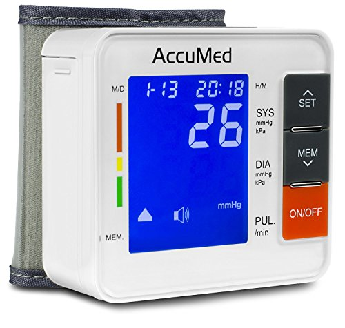 AccuMed ABP801 Portable Wrist Blood Pressure Monitor with One-Touch Automatic Measurement, 4-in-1 Functionality for Systolic/Diastolic BP, Heart Rate(BPM), Hypertension Guide, Arrhythmia Alerts ()